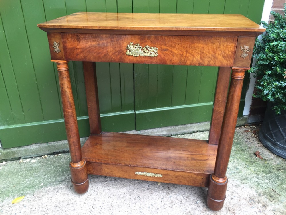 early c19th french empirestyle walnut and fruitwood console table with gilded brass classicalstyle mounts