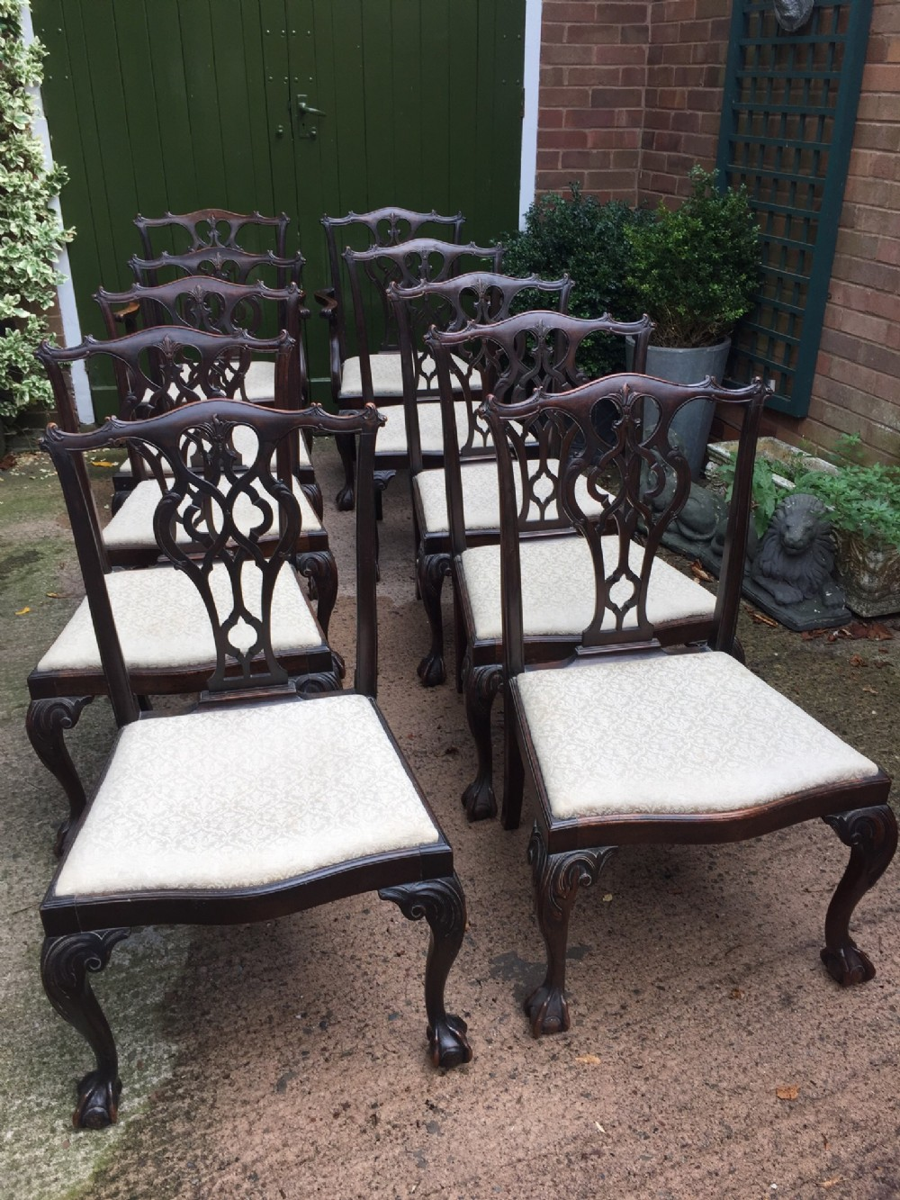 set of 10 midc19th carved mahogany dining chairs in the chippendale style