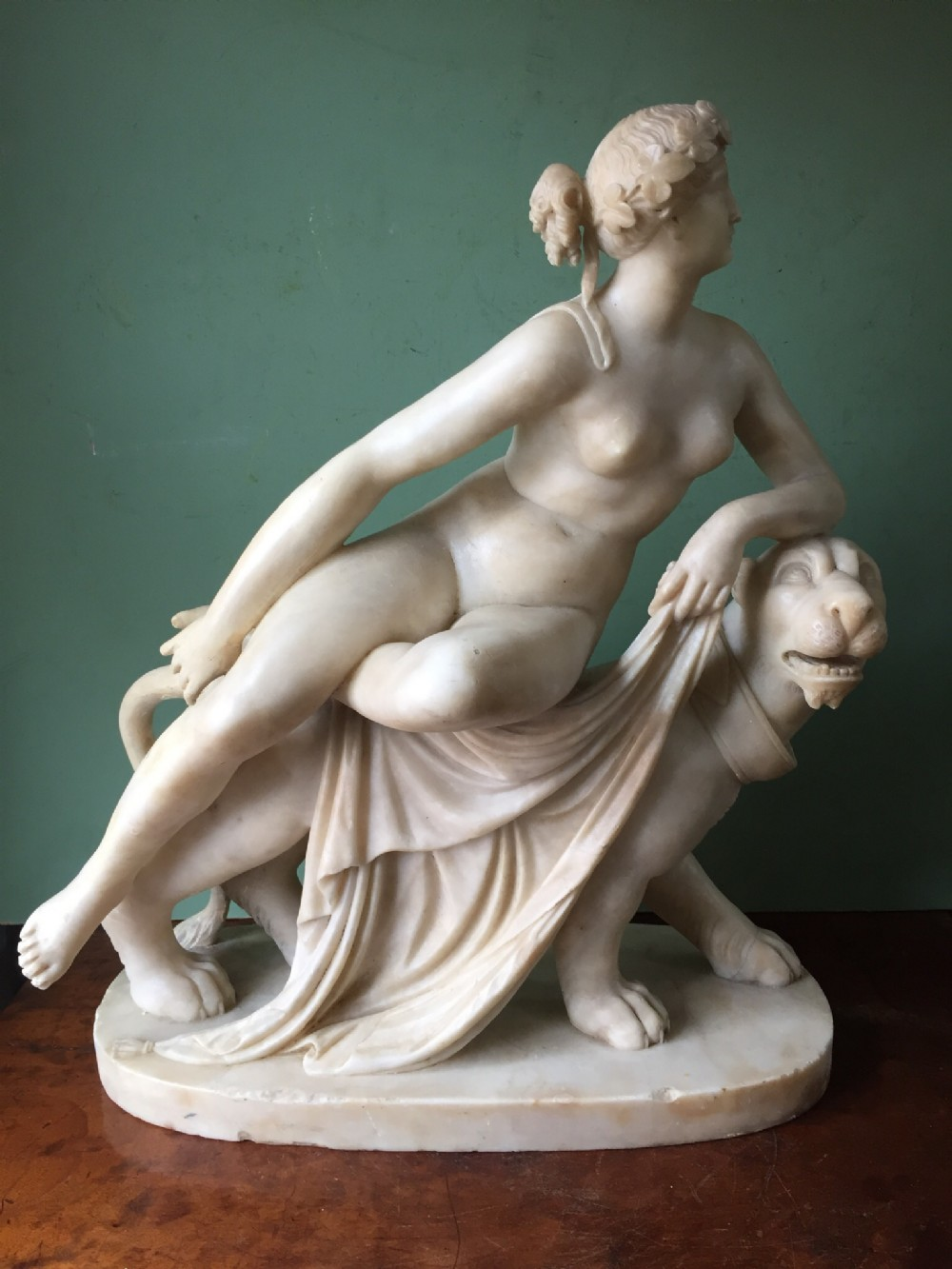 c19th italian carved alabaster sculpture ariadne on the panther after heinrich dannecker