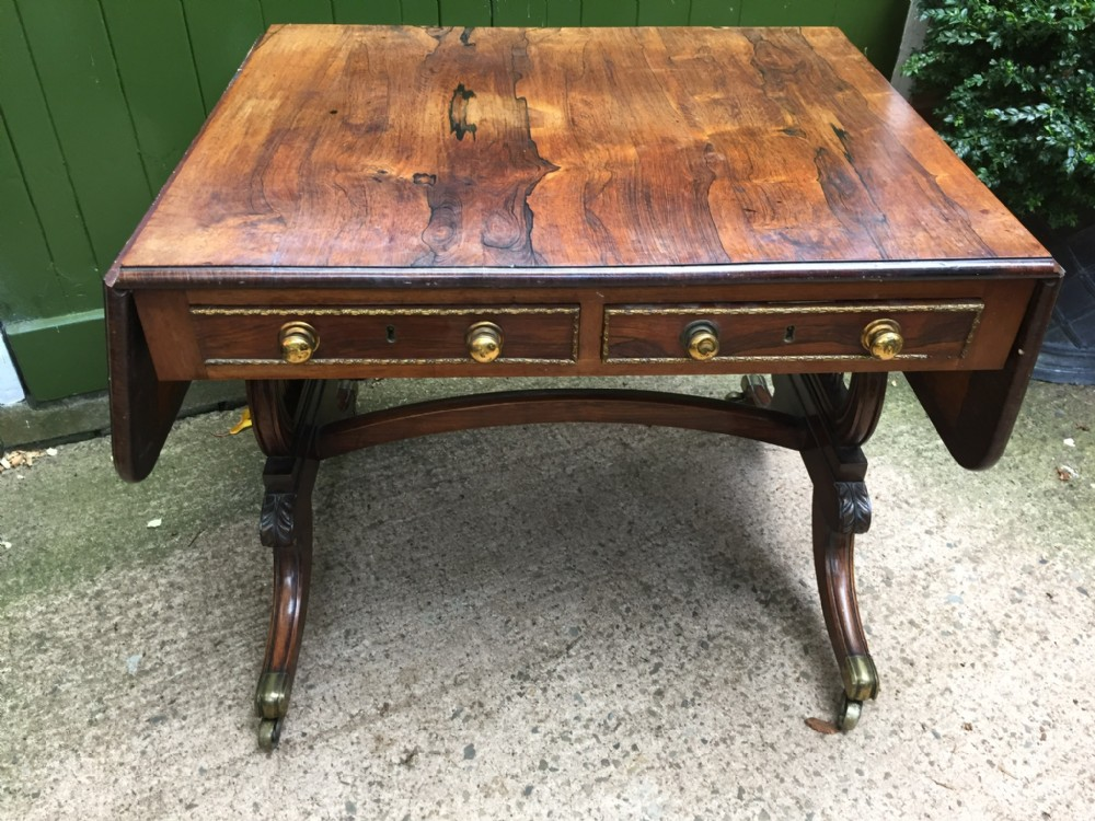 fine early c19th regency period ormolumounted rosewood sofa table in 'as found' 'countryhouse' condition attributed to gillows