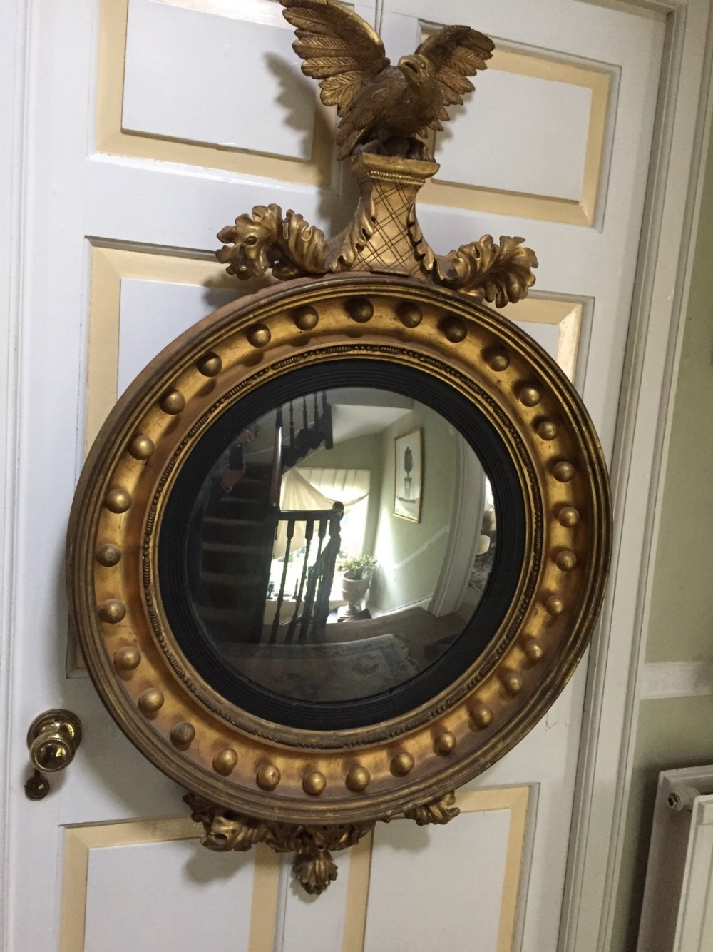 large early c19th regency period carved giltwood convex plate mirror