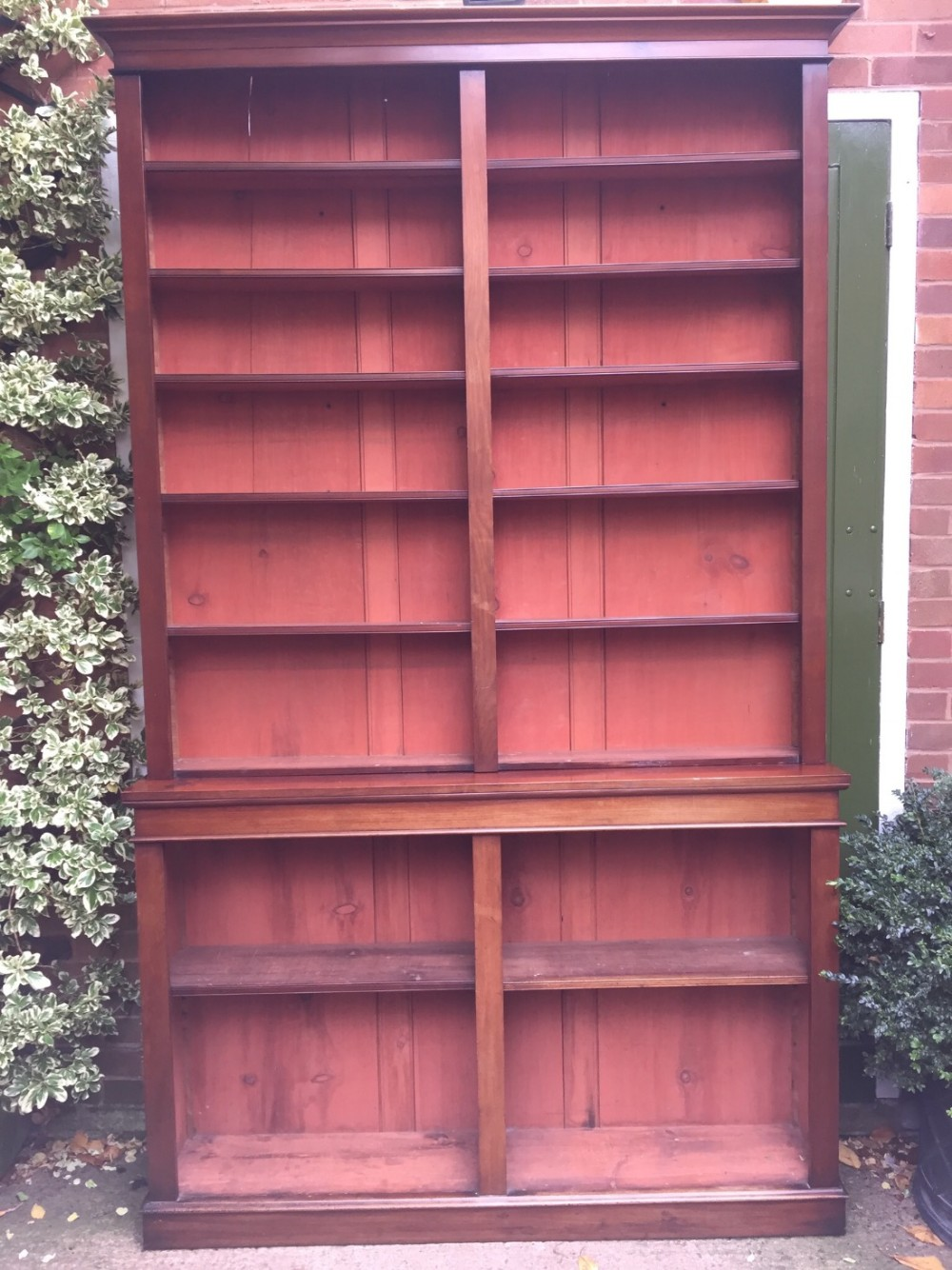 large midc19th mahogany 2 section library bookcase