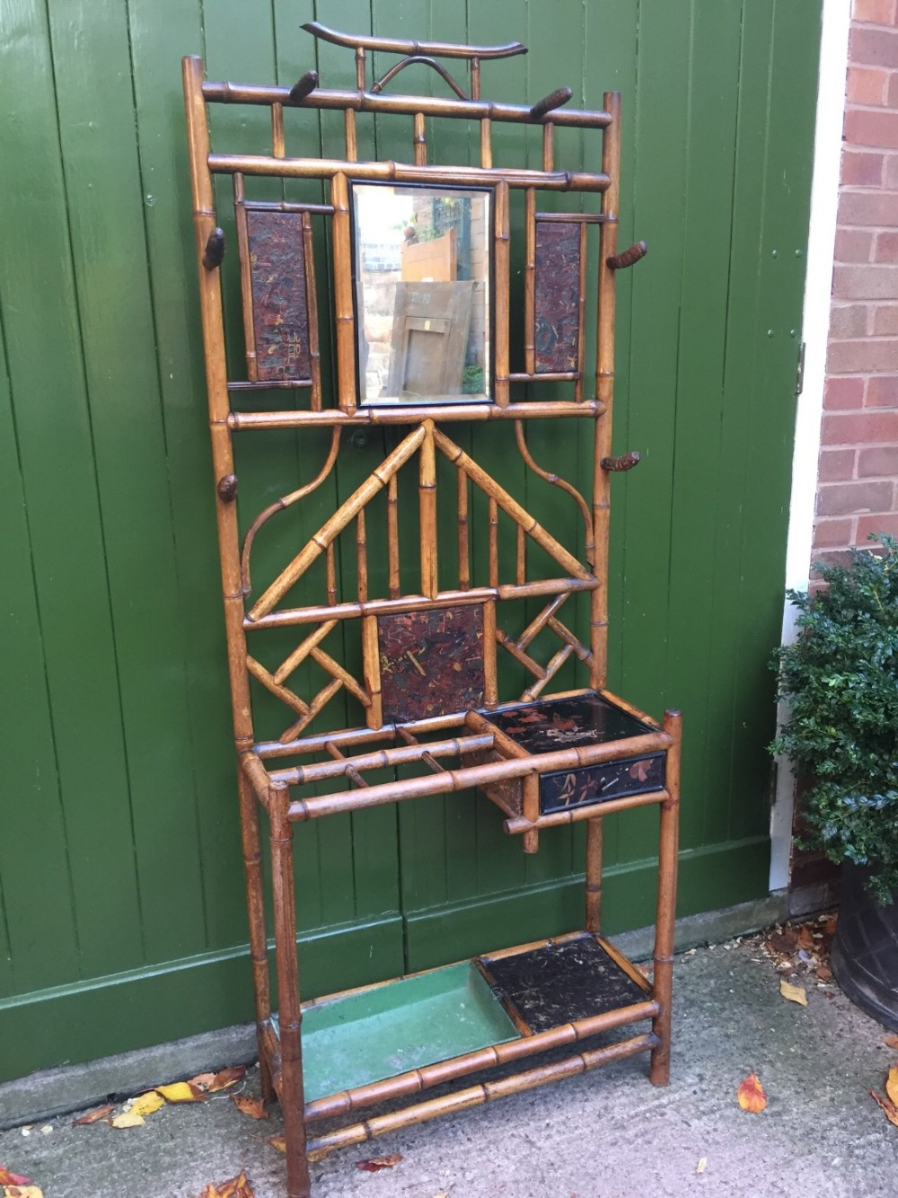late c19th bamboo and chinoiserie panelled hat coat and stick hallstand