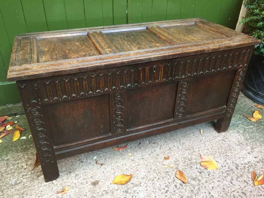 mid c17th carved oak 3panel coffer
