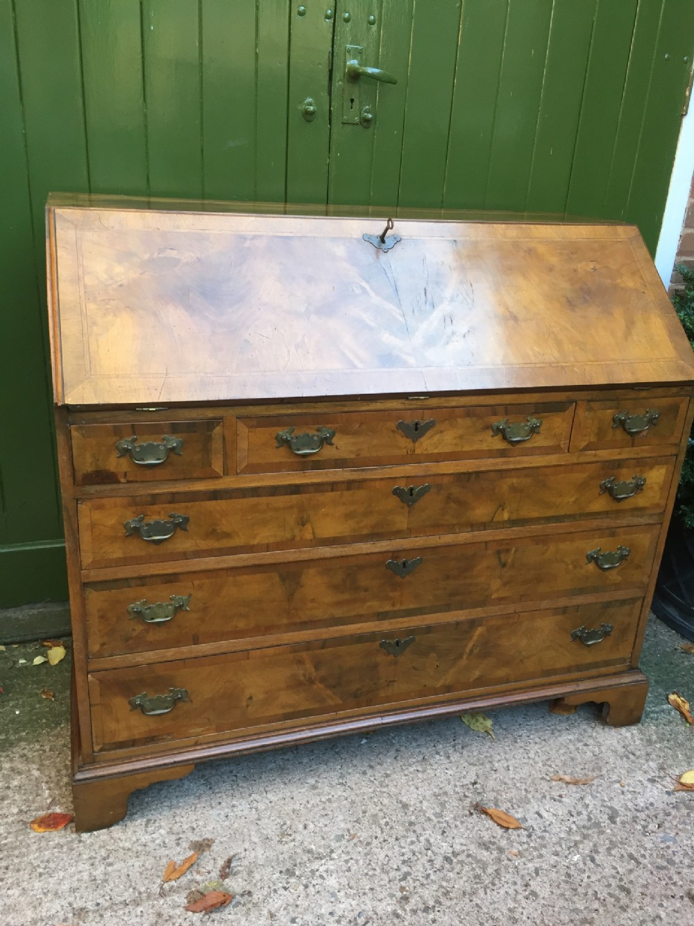 large late c19th walnut bureau of early georgian design