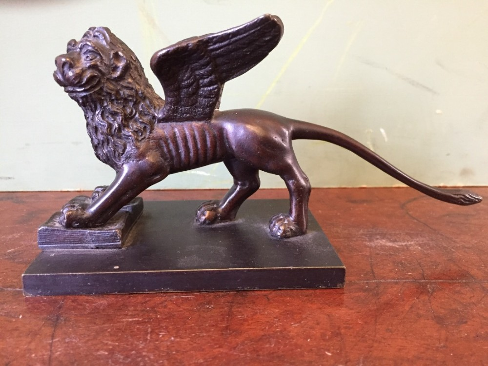 c19th italian venetian bronze 'grand tour' souvenir sculpture of the lion of st mark