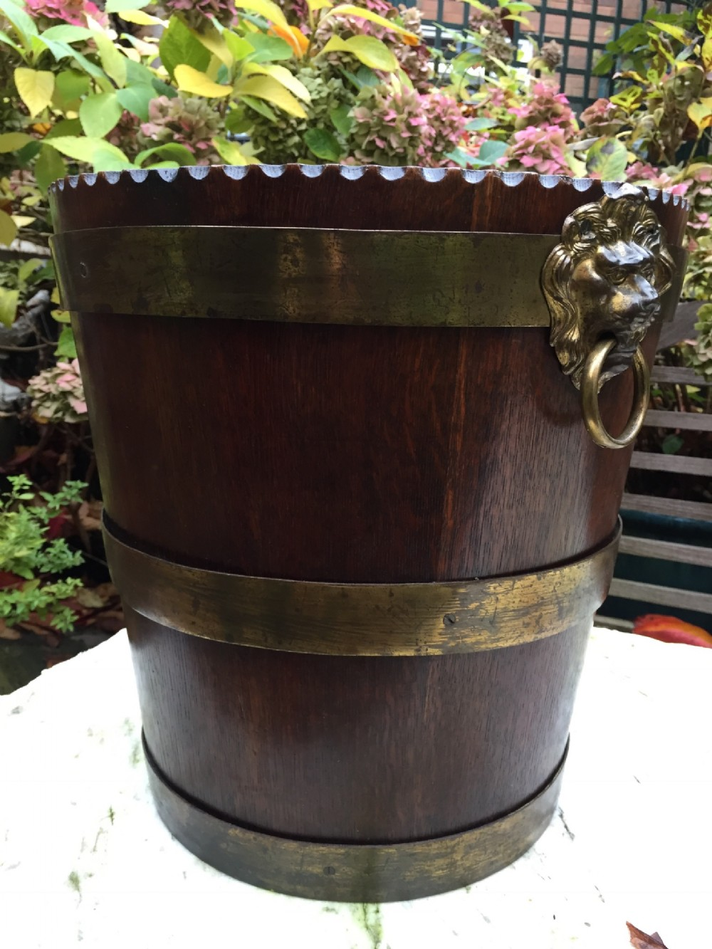 c19th brassbound oak fireside log or peat bucket