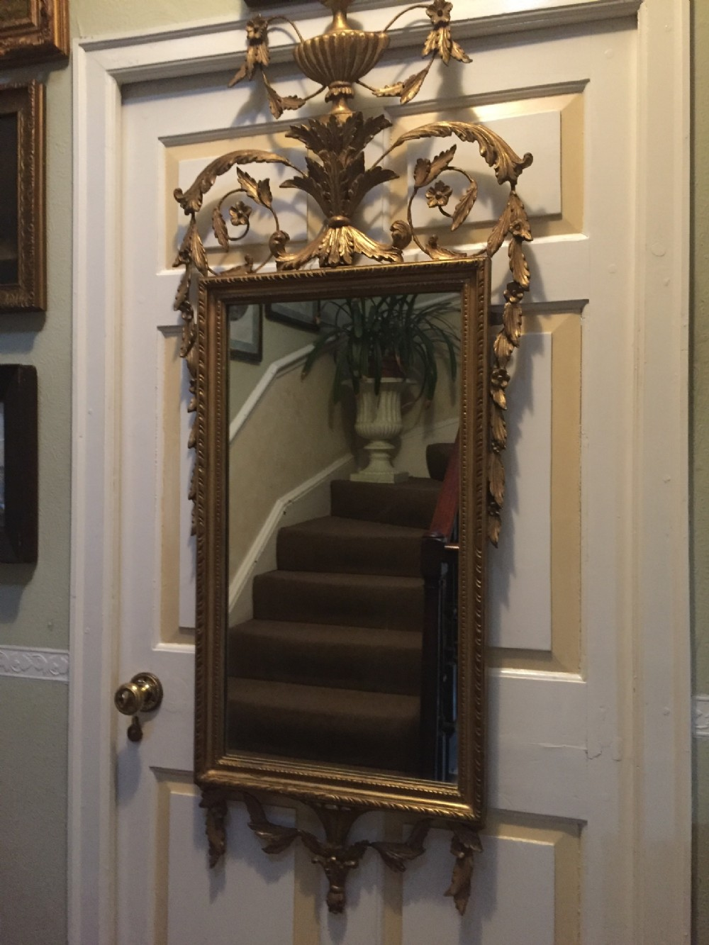 early c20th adamstyle carved giltwood and gesso framed mirror of neoclassical design