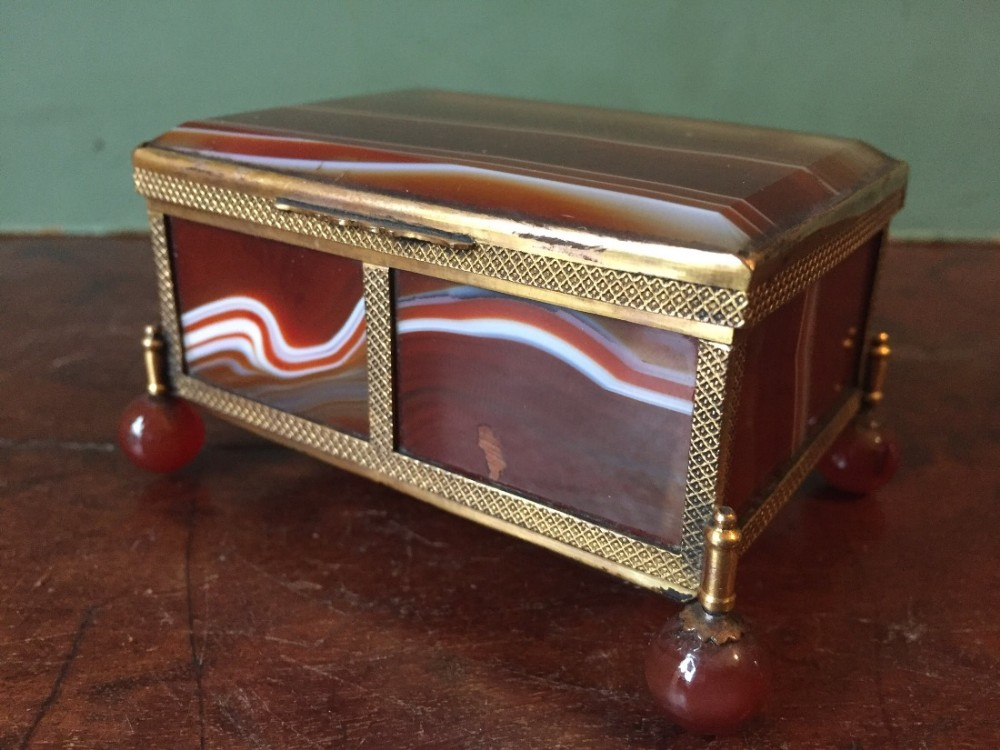 late c19th early c20th austrohungarian brassframed agate casket