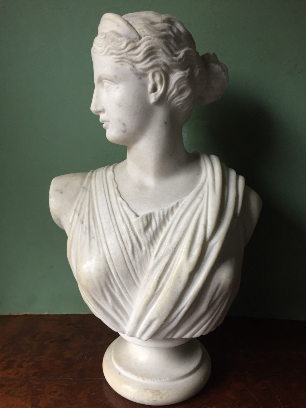 early c19th carved white statuary marble bust study of diana