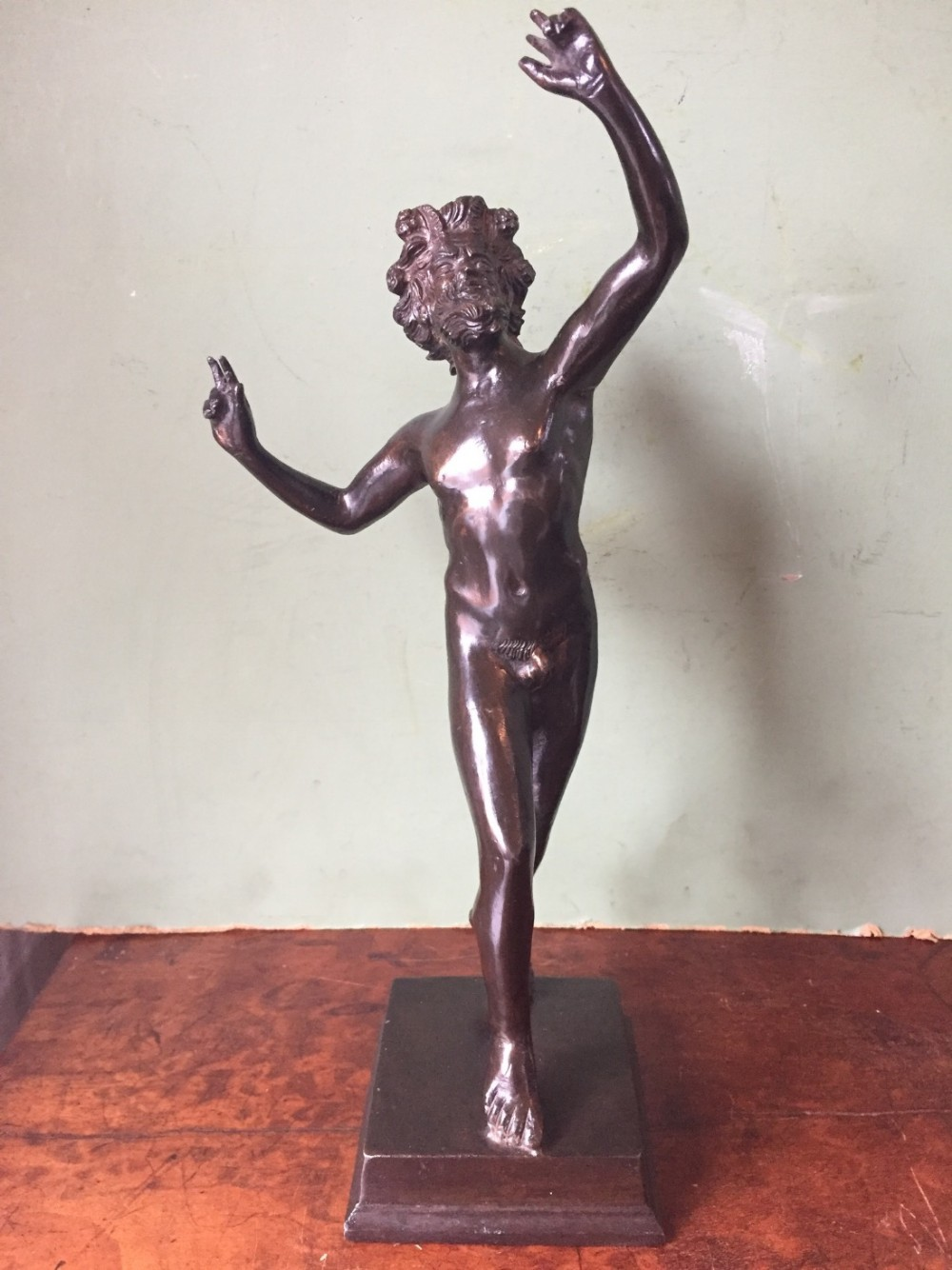 late c19th italian bronze 'grand tour' souvenir sculpture the dancing faun of pompeii after the antique
