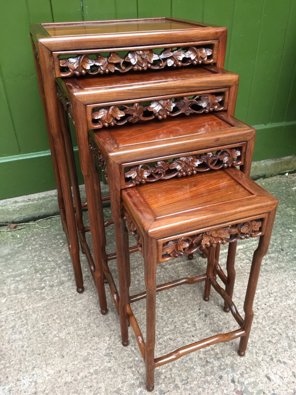 late c19th chinese qing dynasty quartetto of carved hardwood nesting tables