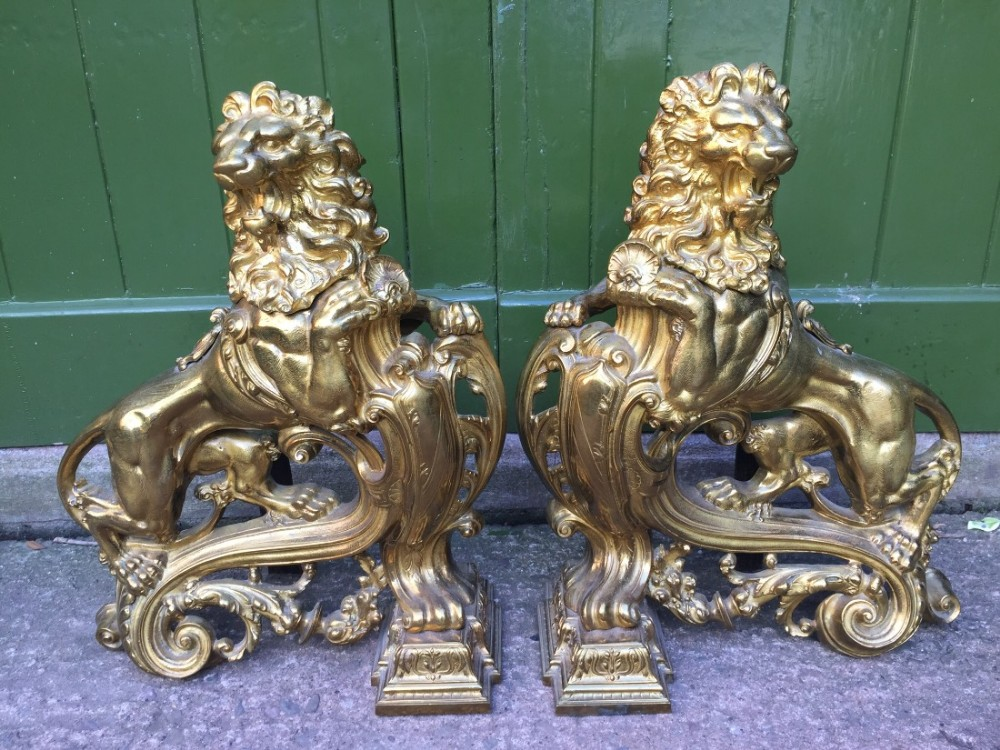 magnificent pair of largescale c19th french louis xvi style ormolu bronze fireplace 'chenets' cast as rampant lions