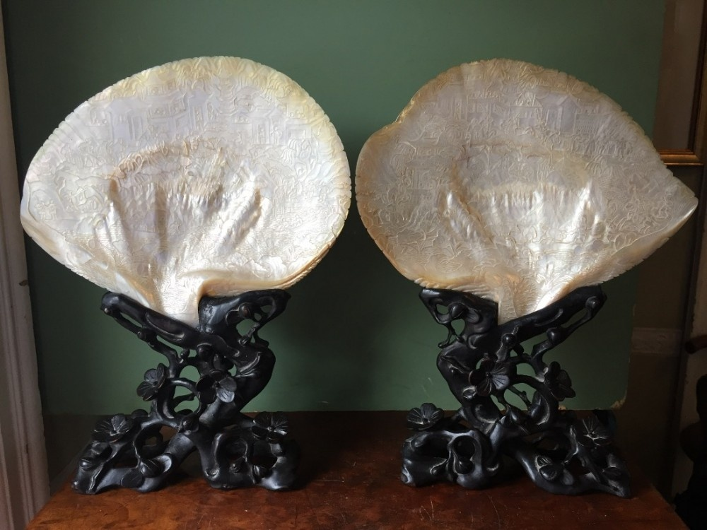superb pair of late c19th chinese cantonese intricately carved nacre shells mounted on their original bespoke period carved hardwood stands