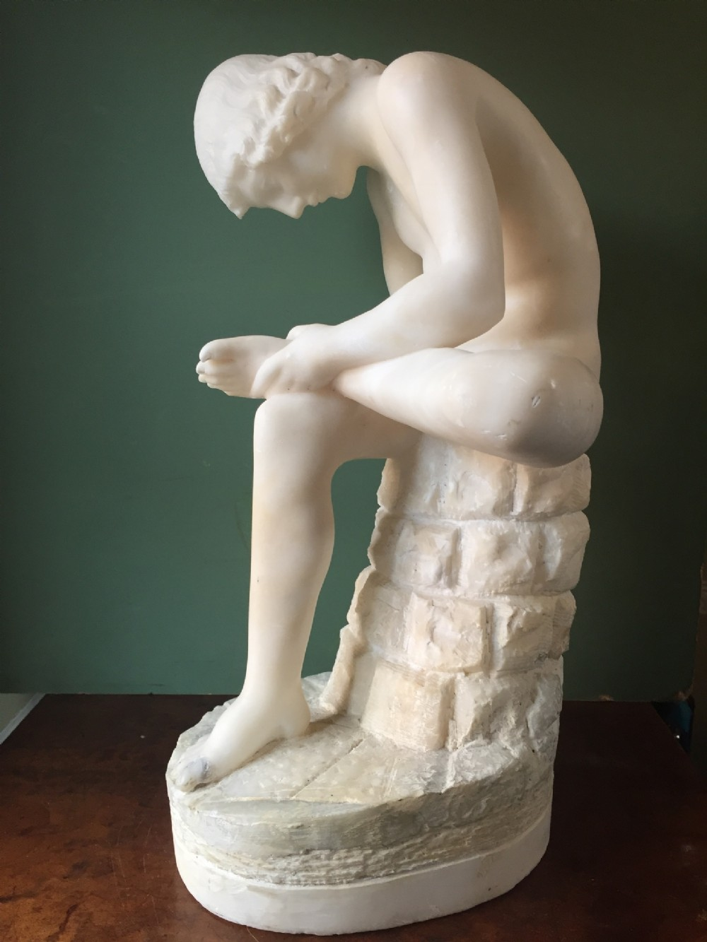late c19th italian carved alabaster 'grand tour' souvenir sculpture after the antique of spinario or the thorn puller