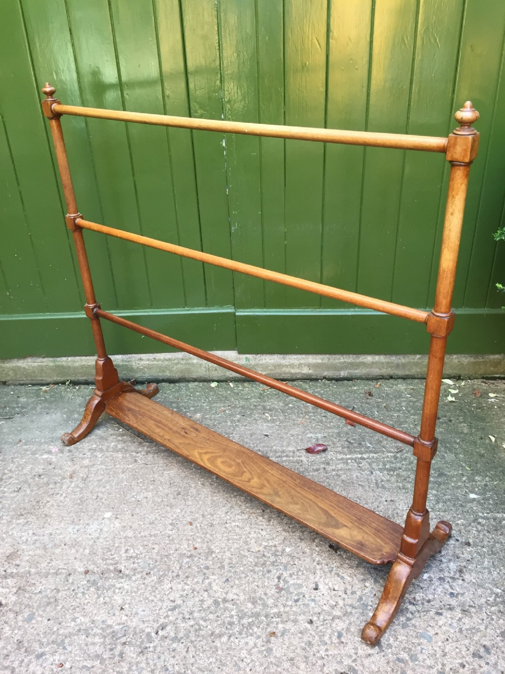 early c19th regency period mahogany 'countryhouse' clothes towel or garment rail of unusually large scale