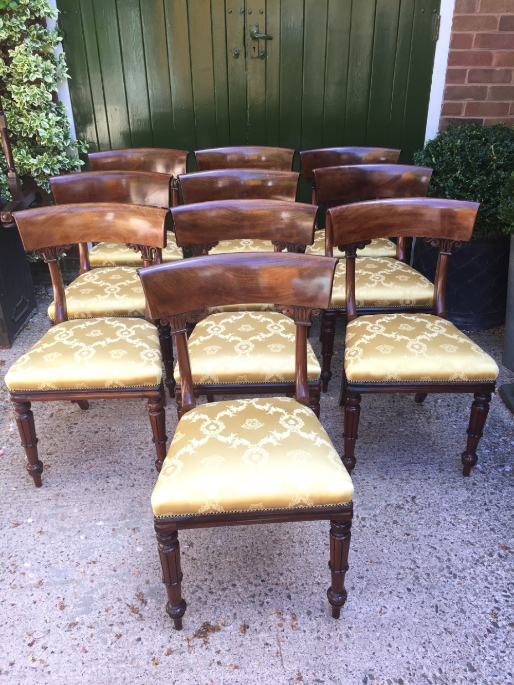 superb set of 10 c19th william iv period mahogany dining chairs