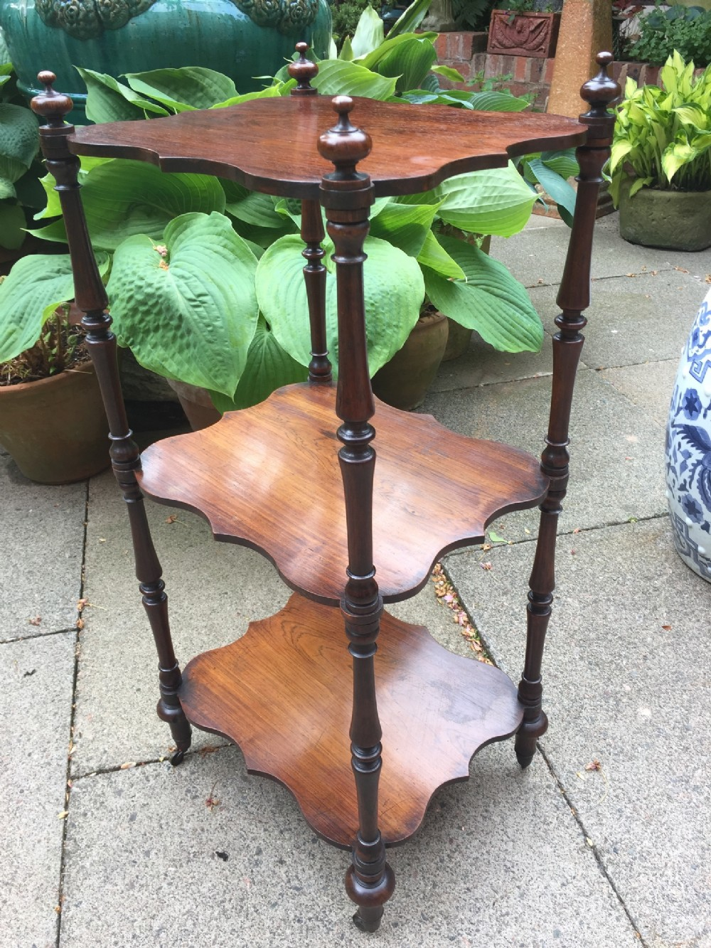 mid c19th rosewood 3tier etagere of neat scale and proportions