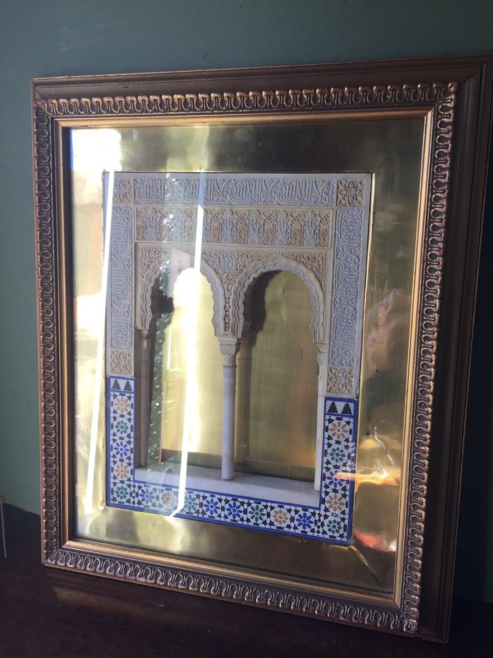 early c20th framed gesso or stucco polychrome decorated architectural plaque from alhambra