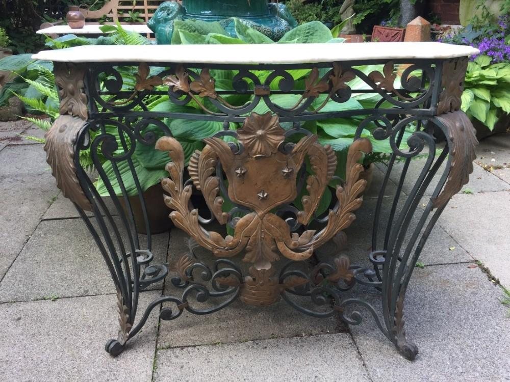 early c20th french wrought iron and bronzed tolemounted marble top console table