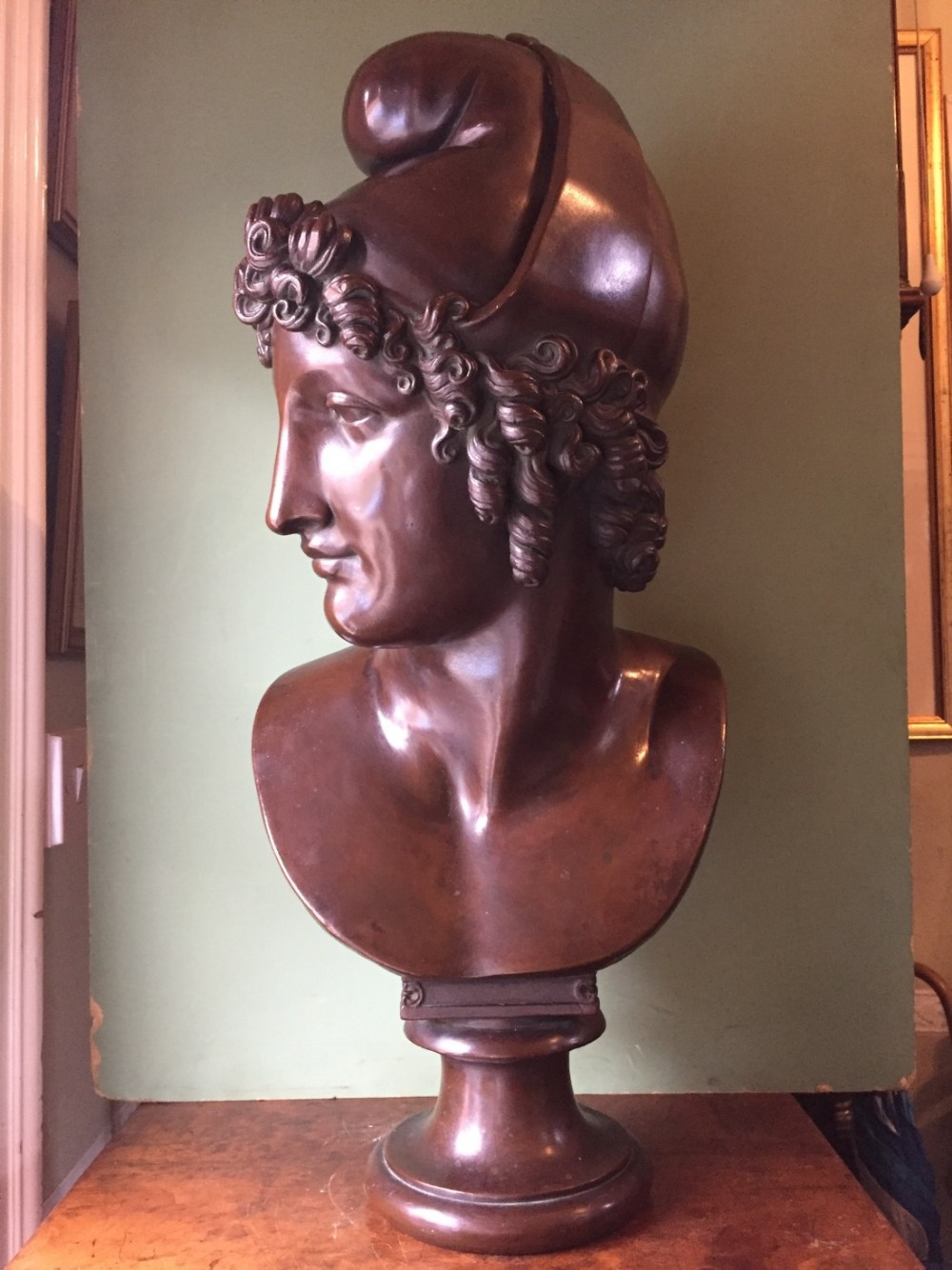 large late c19th bronzed metal bust of paris after antonio canova