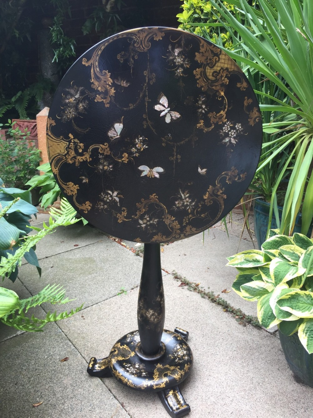 mid c19th victorian period papiermache tiptop occasional table in the manner of jennens bettridge