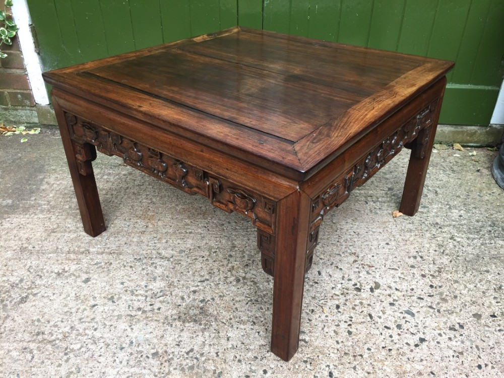 late c19th chinese qing dynasty carved hardwood 'kang' table of practical proportions