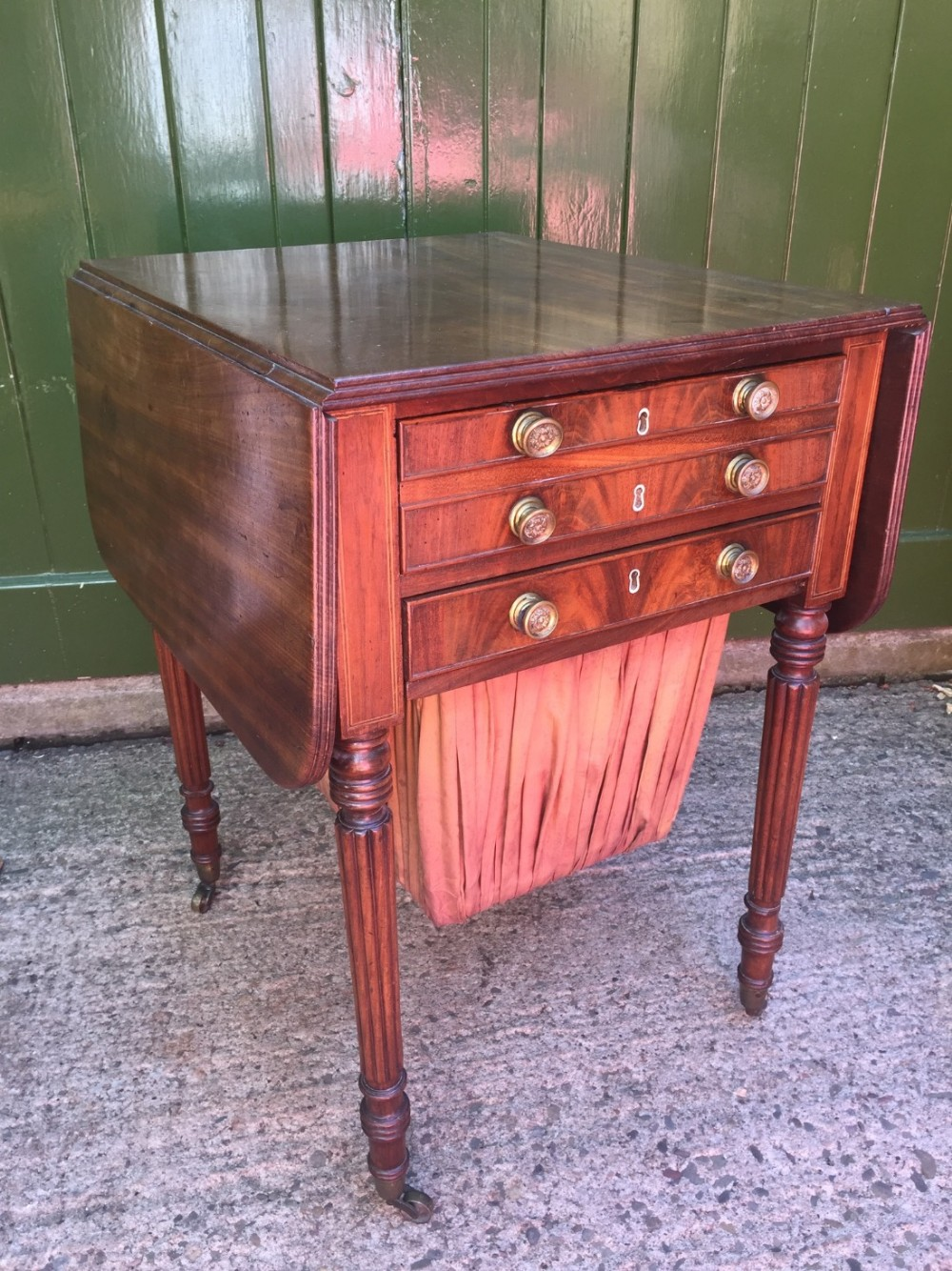 early c19th regency period mahogany dropleaf pembroke sewing table with fitted writing drawer in the manner of gillows of lancaster