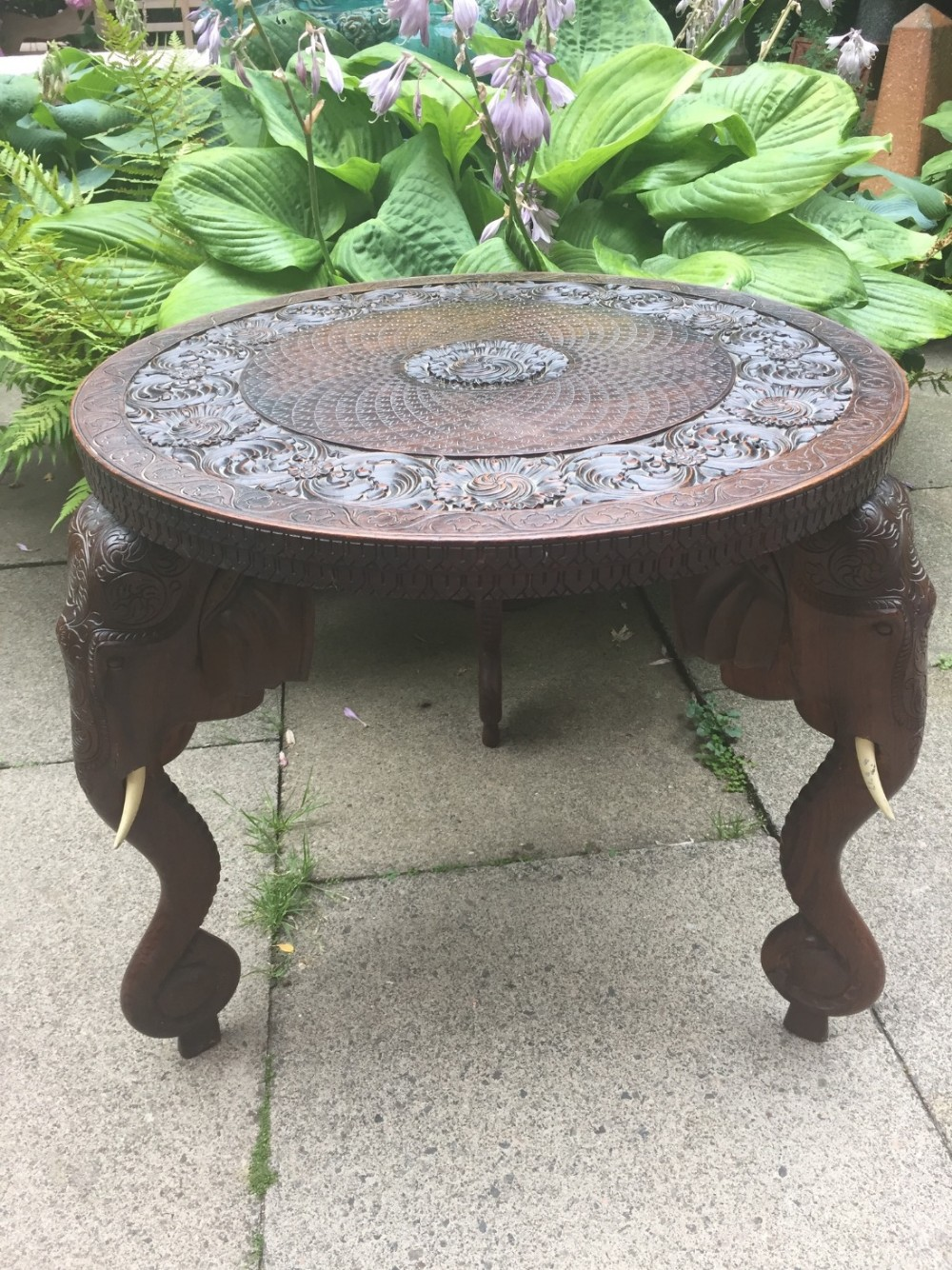 good larger scale late c19thearly c20th indian carved teak 'elephant ' table