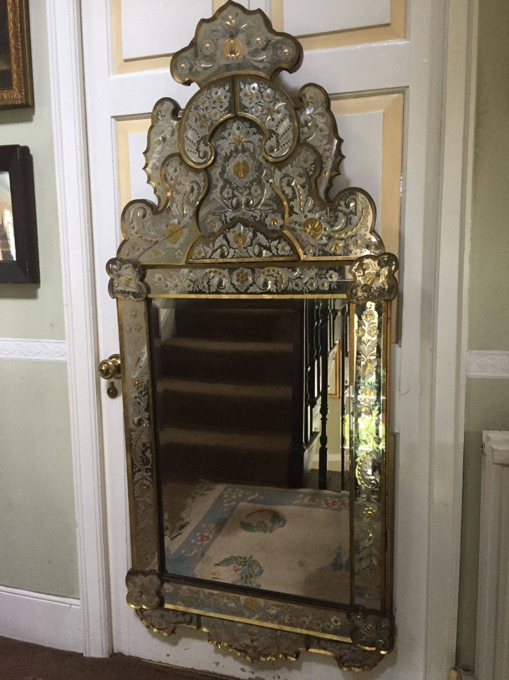 fine and decorative late c19th italian 'verre eglomise' venetian mirror with detailed engraving and gilded highlights and edges