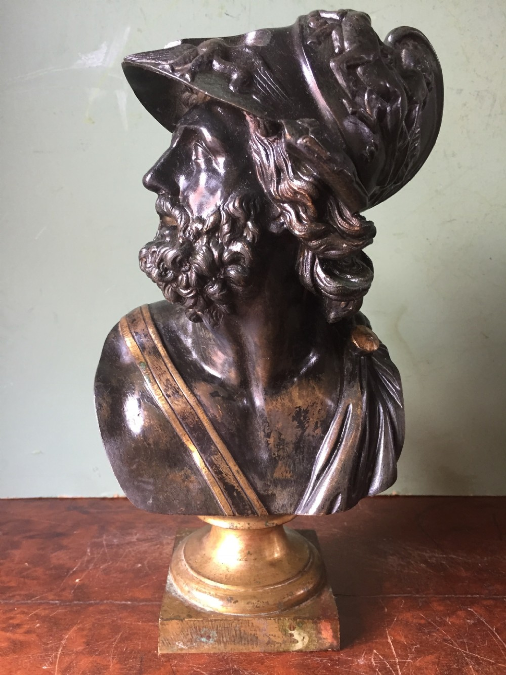 c19th bronze bust study of the mythological greek hero ajax
