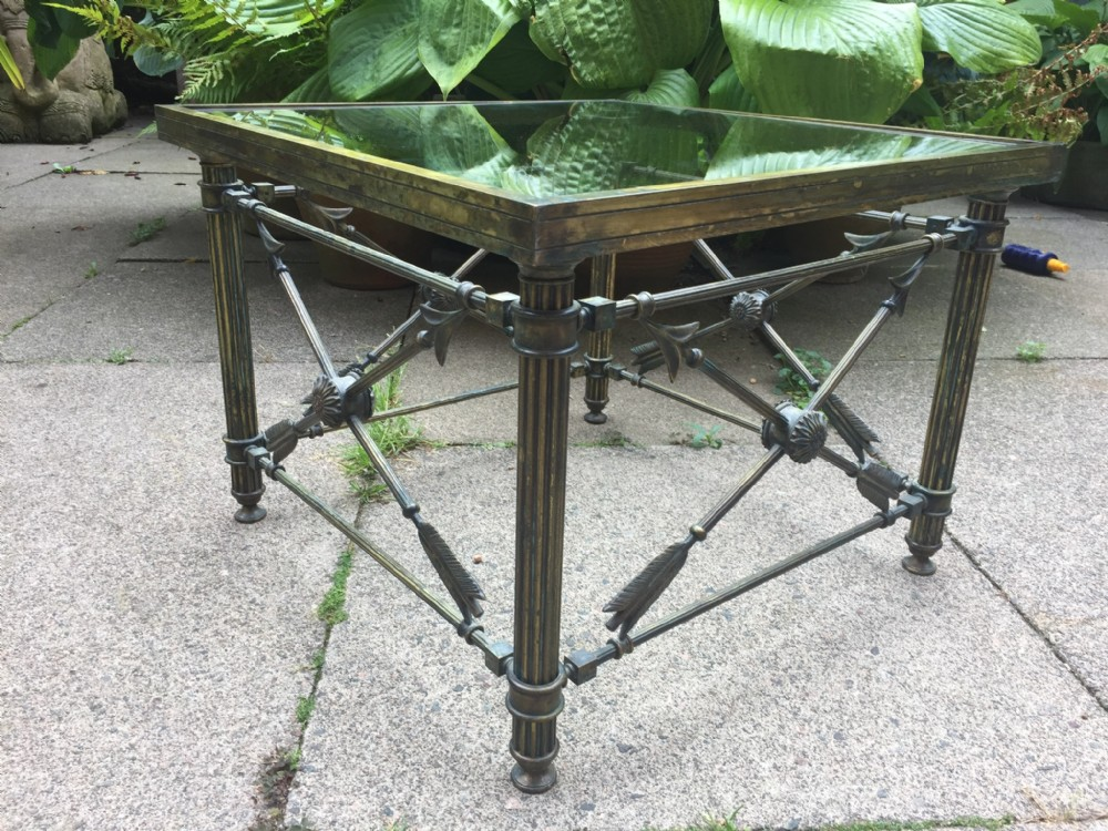 early c20th verdigris brassframed lamp table of empire design with inset glass top