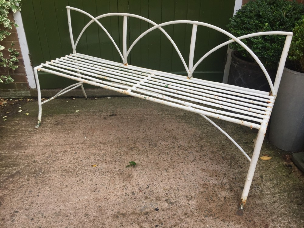 early c19th regency period iron bench or garden seat of good decorative design