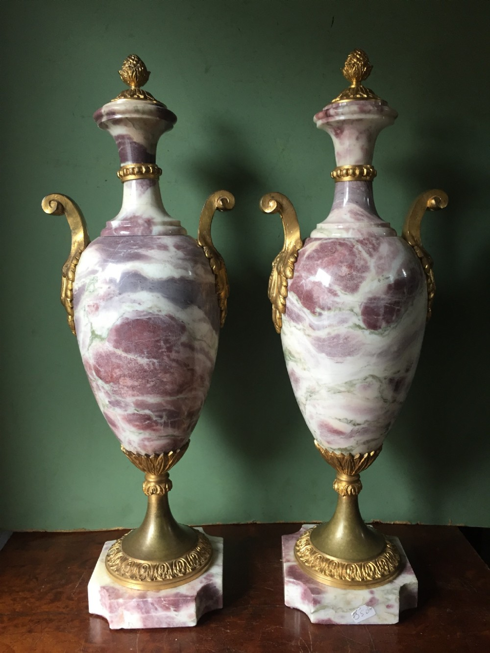 pair of elegant late c19th early c20th french ormolumounted marble vases