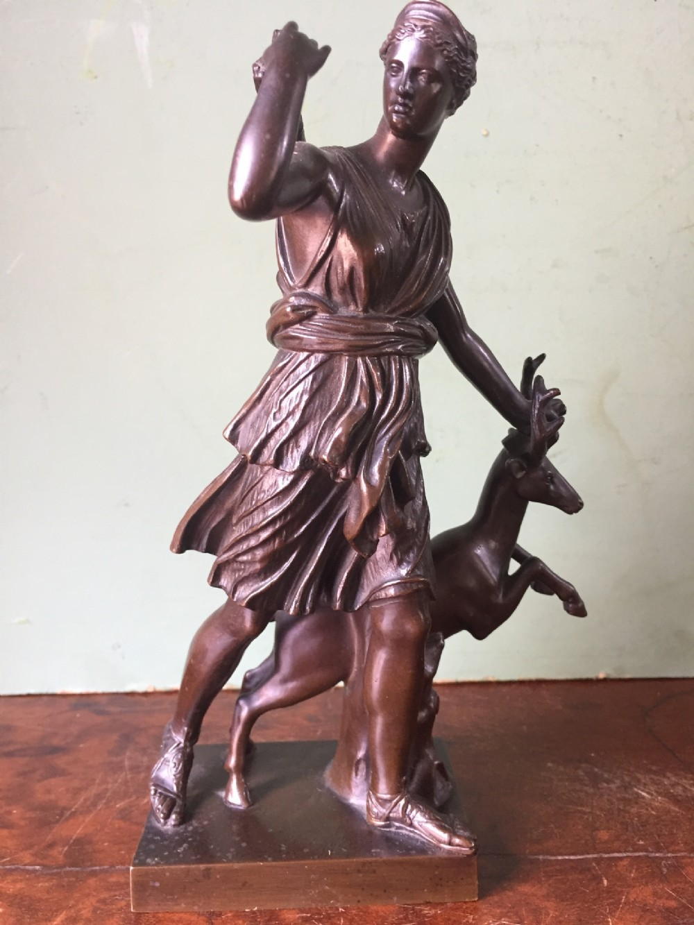 c19th french bronze 'grand tour' souvenir statue after the antique diana the huntress