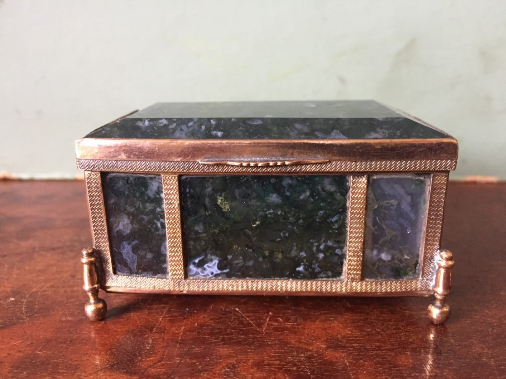 late c19thearly c20th austrohungarian gilt brassframed 'moss' agate panelled casket