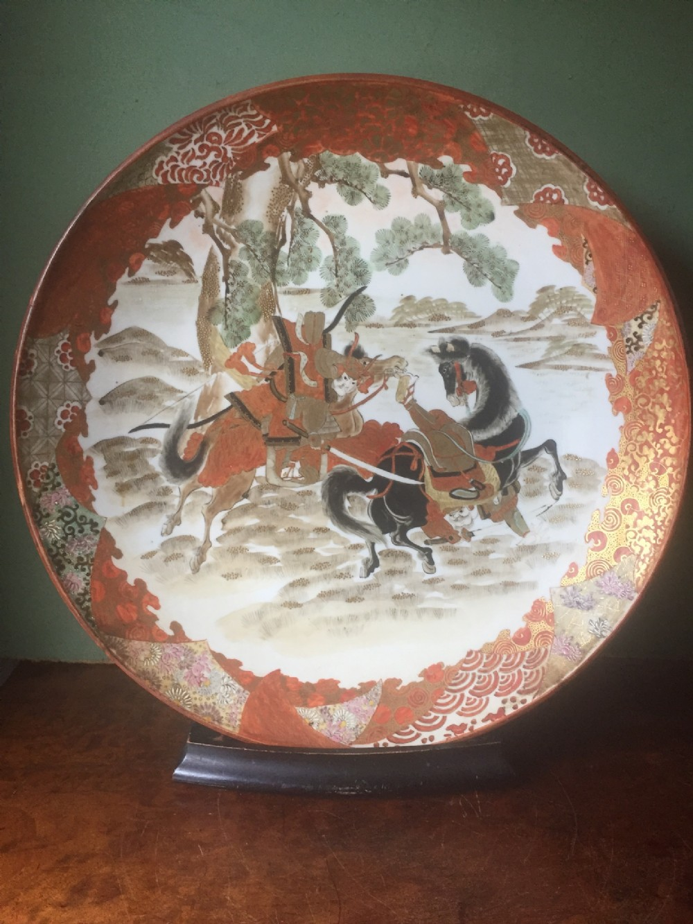 late c19th japanese kutani porcelain charger