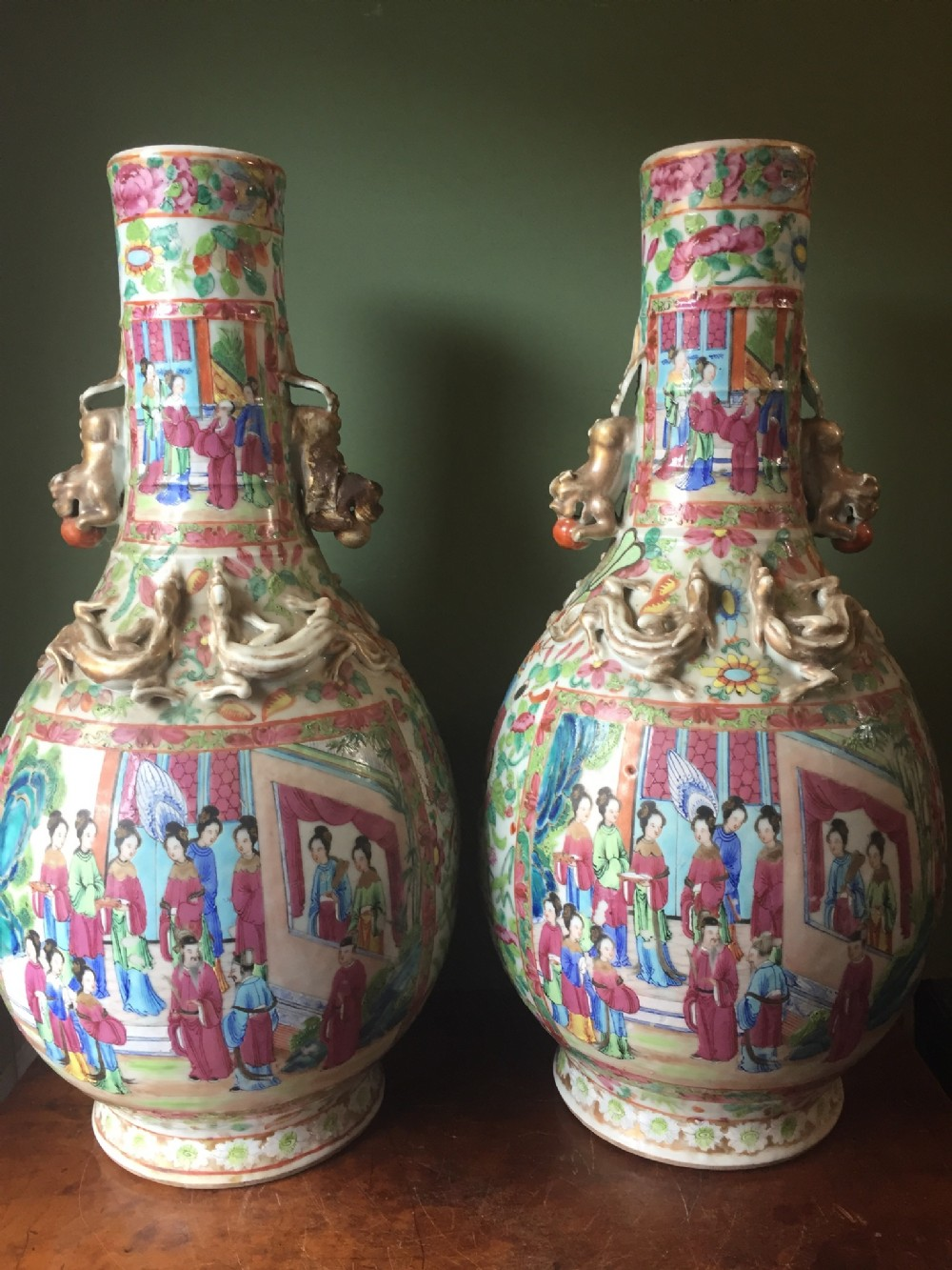 pair of late c19th chinese cantonese porcelain vases