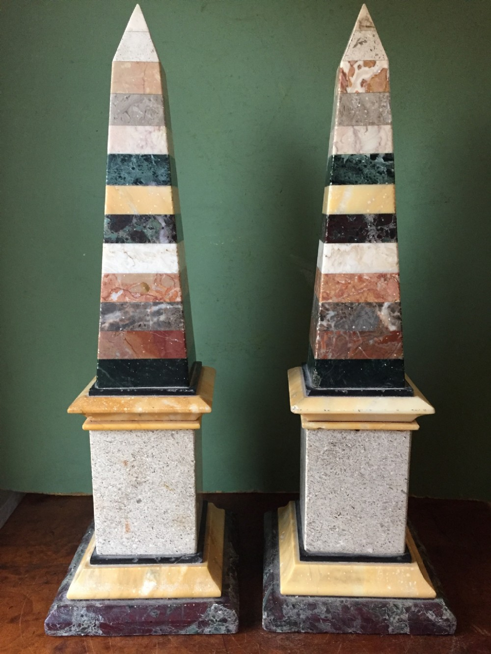pair of c19th italian specimen marble obelisks