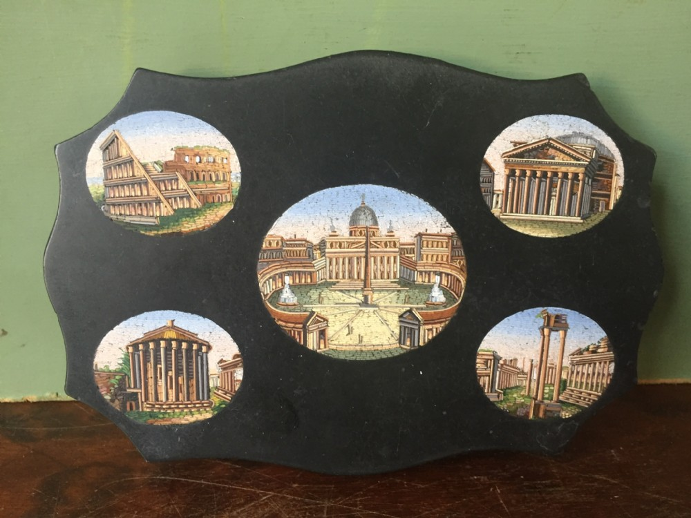 fine late c19th italian 'grand tour' souvenir marble paperweight with micromosaic scenic panels