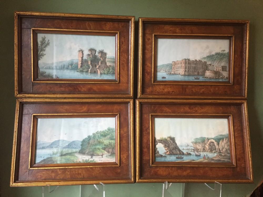set of 4 c19th italian framed miniature watercolours