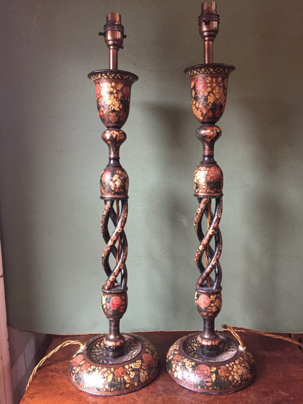 pair of late c19th decorated indian kashmiri lamps
