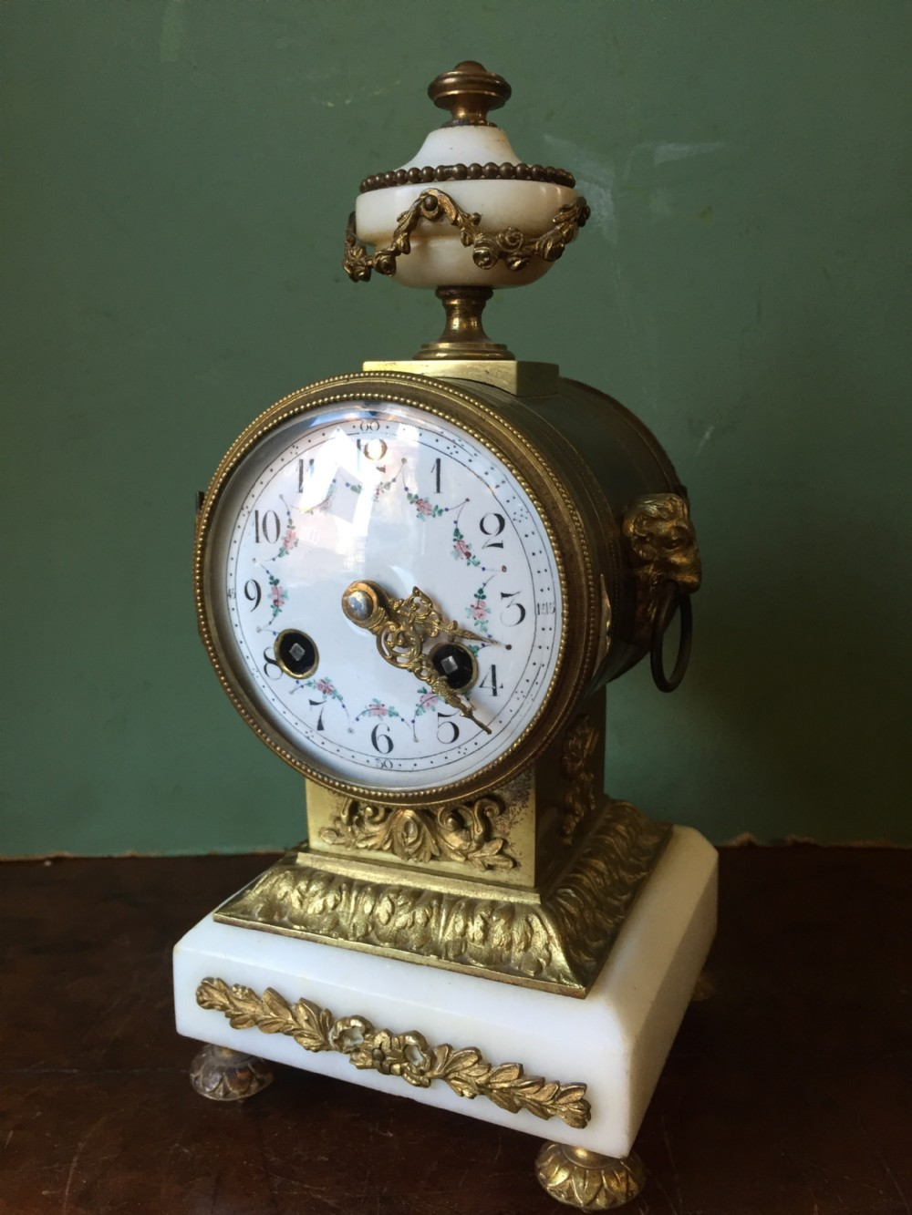 c19th french ormolu and alabaster 'drum' clock