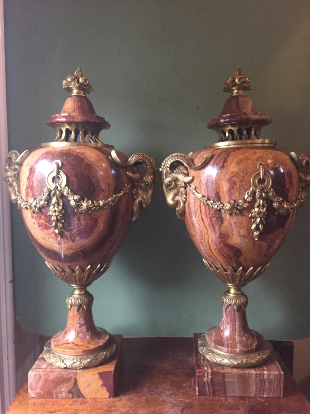 spectacular large pair of french late c19th louis xvi style 'alabastro fiorito' marble and ormolu bronze mounted vases