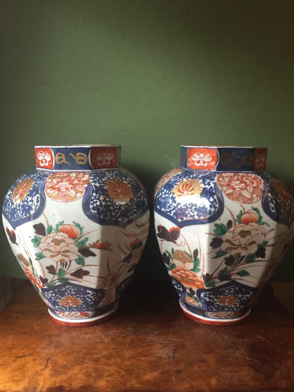 pair of c18th japanese imari palette porcelain vases