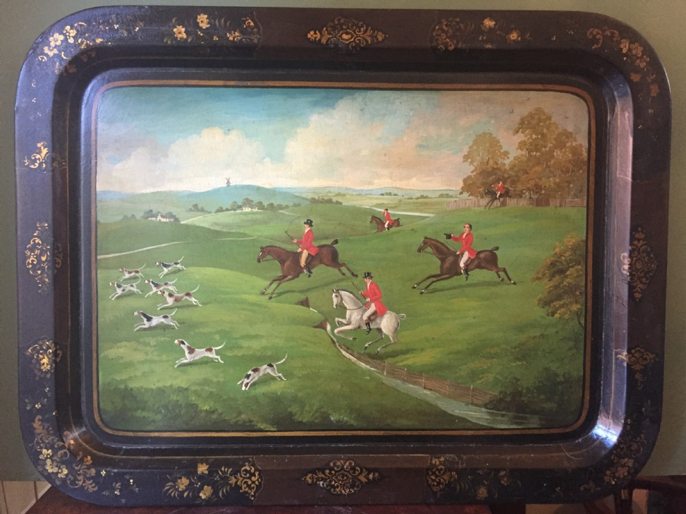 fine and rare early c19th papiermch tray painted with a landscape hunting scene by jennens bettridge