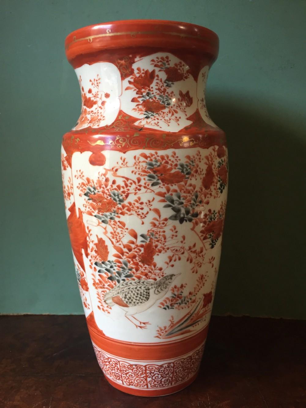 late c19th early c20th japanese kutani porcelain vase