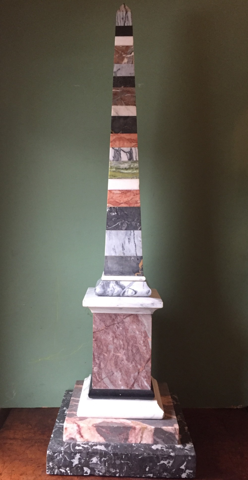 fine and decorative late c19th italian specimen marble obelisk of substantial scale