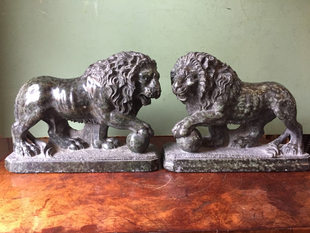 fine pair of c19th italian carved serpentine marble 'grand tour' souvenir models of the medici lions after the antique