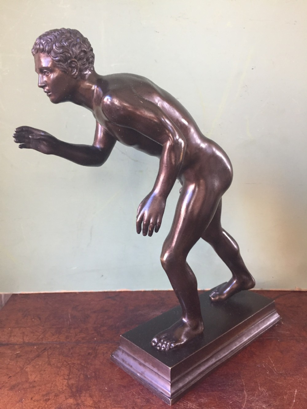 c19th italian 'grand tour' souvenir bronze sculpture after the antique of an athlete